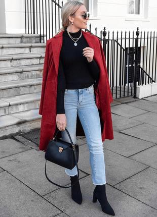 Шерстяное красное пальто миди