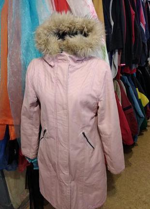 Зимняя женская удлинённая  куртка - парка розового цвета 38 р(...