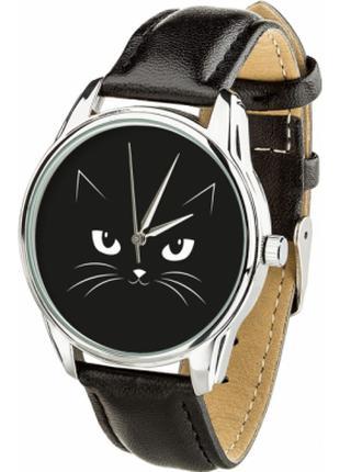 Часы ZIZ(ремешок насыщенно - черный, серебро) + дополни