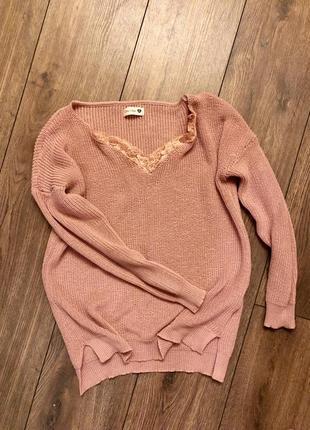 Вязаный свитер пудровый
