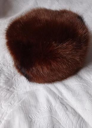 Круглая шапка из эко меха искусственного меха под натуральную