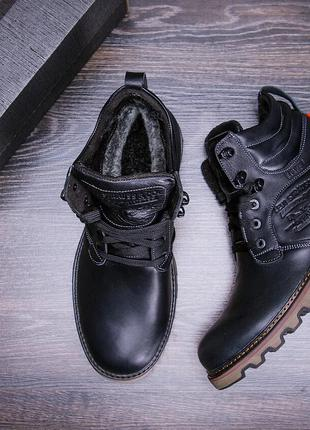 Мужские зимние кожаные ботинки Levis Stage 1 Black Night