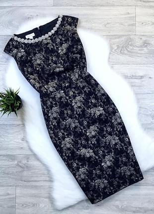 Платье миди с красивым декольте и с золотым напылением