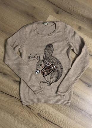 Тёплая кофта свитер с принтом ostin