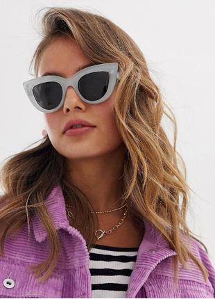 Солнцезащитные очки кошечки с серой прозрачной оправой