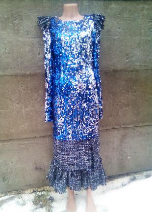 Роскошное вечернее платье в стиле шанель твид пайетки рюши