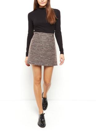 Шерстяная юбка-трапеция с высокой талией new look 🍂