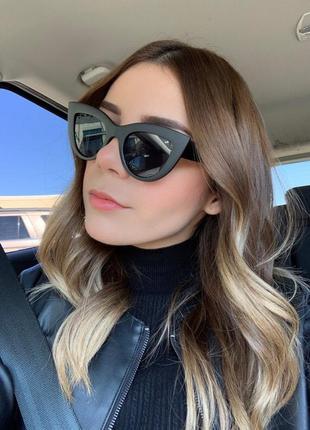 Солнцезащитные очки кошечки с чёрной матовой оправой