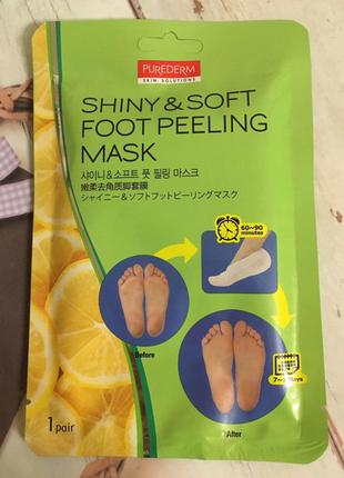 Пилинг носочки для гладкой кожи ног purederm shiny and soft fo...