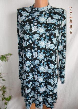 Трикотажное платье туника с принтом