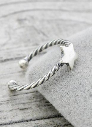 "Серебряное кольцо на фалангу ""звёздочка"""