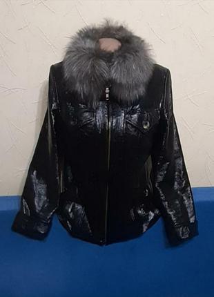 Куртка натур.кожа с подстёжкой воротник чернобурка
