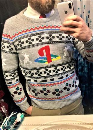 Playstation мужской вязаный свитер для геймеров