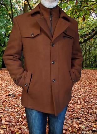 Мужское демисезонное полупальто (шерстяное пальто-тренч)
