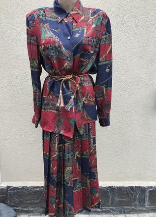 Винтаж,шелк 100%,костюм,юбка в складки,блуза,рубаха