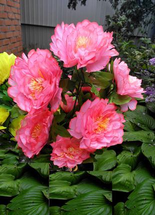 Цветы искусственные Пион букет высота 70 см диаметр цветка 14 см