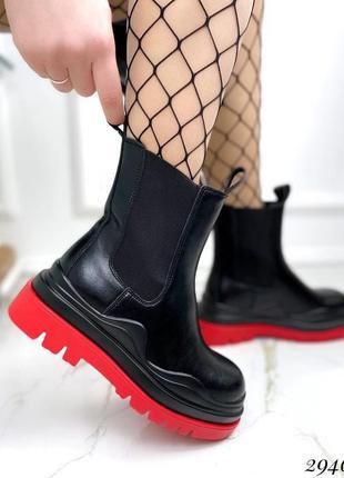 Ботинки на резинках с красной подошвой весна 2021
