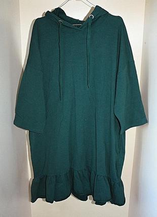 Зеленое спортивное платье-худи батал большой размер оверсайз o...