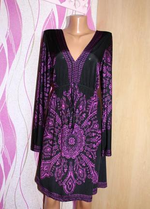 Платье / туника / микромасло черное в фиолетовый принт, турция...