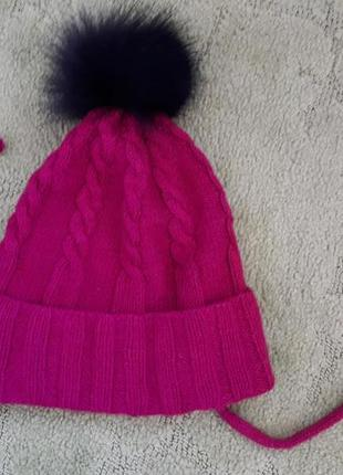 Осенне зимняя шапка полушерсть с меховым помпоном, на подкладк...