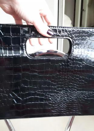 Большой лаковый нарядный клатч сумка shengkasilu