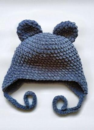 Шапка с ушками вязаная ручная работа синяя велюр новая теплая ...