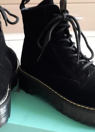 Зимние натуральные берцы ботинки в стиле  dr. martens замш и ш...