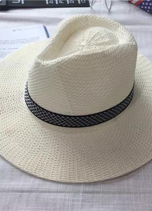 Молочная соломенная шляпа женская унисекс ковбойка  на резинке...