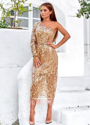Платье c вышивкой из пайеток