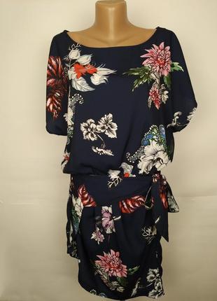 Платье легкое красивое цветочное с поясом спереди uk 14/42/l
