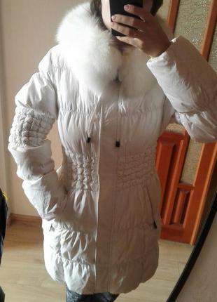 Женский  зимний пуховик-пальто с натуральным мехом