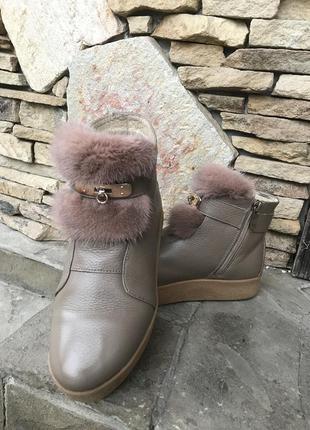 Шикарные зимние ботинки натуральная кожа с норкой!