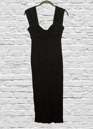 Вечернее платье миди черное приталенное, приталенное платье че...
