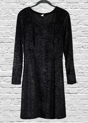 Праздничное бархатное платье черное, бархатное платье миди черное