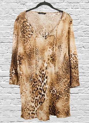 Леопардовая накидка, леопардовая блуза оверсайз, рубашка с при...