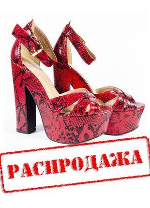 Красные босоножки на высоком каблуке, открытые босоножки красн...