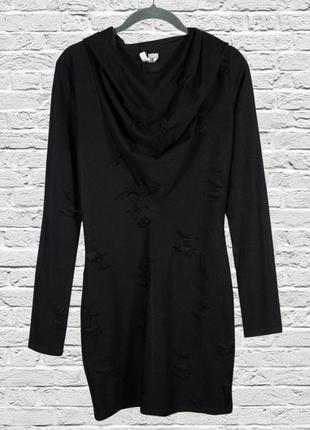Спортивное платье с капюшоном, черное платье короткое
