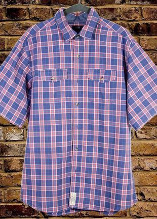 Мужская рубашка синяя в клетку, летняя рубашка с коротким рукавом