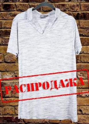 Серая футболка поло мужская, летняя футболка серая