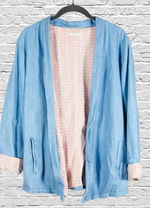 Джинсовый пиджак летний, оверсайз пиджак длинный, свободный жакет