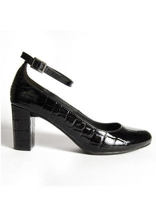 Черные туфли на устойчивом каблуке, лакированные туфли с кругл...