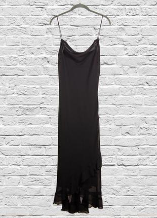 Длинное платье в бельевом стиле, длинный сарафан черный, наряд...
