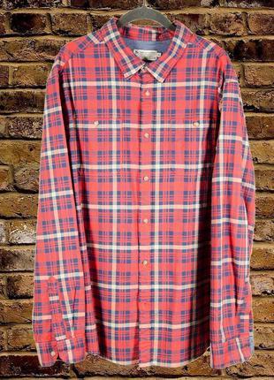 Мужская рубашка в клетку, красная рубашка с длинным рукавом