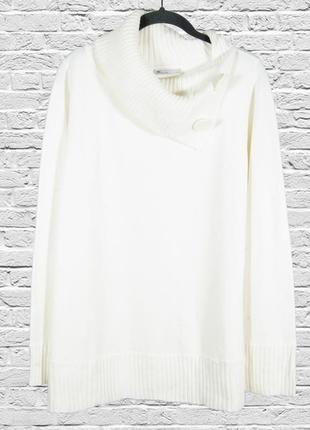 Белый свитер оверсайз, большой свитер молочный, теплый женский...