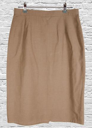 Кофейная юбка карандаш миди, классическая юбка миди, строгая ю...