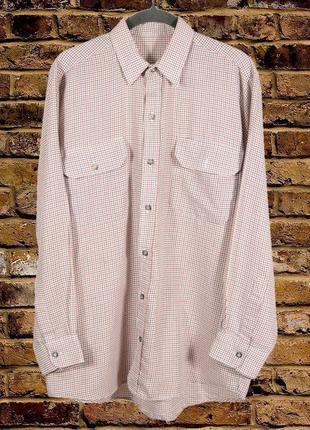 Бежевая мужская рубашка в клетку, клетчатая рубашка с длинным ...