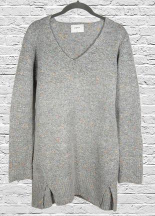 Серый свитер туника, длинный свитер женский, серый джемпер дли...