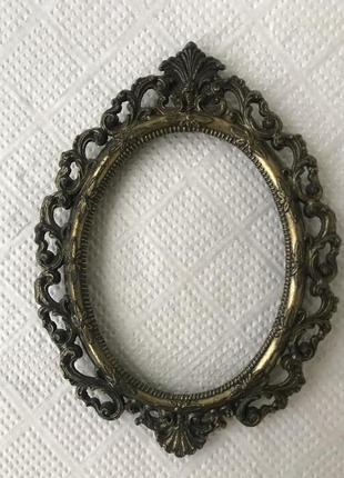 Винтажная красивая металлическая рамочка для фото/зеркала, рам...