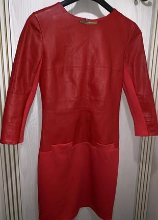 Красное платье эко кожа молния на спине,платье из кож зама и т...