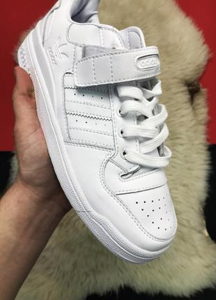 Мужские кроссовки адидас adidas forum mid full white, белые.